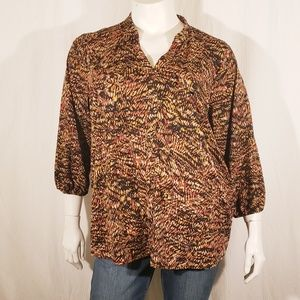 3/$25  Avenue Brown Pattern Top size 22/24